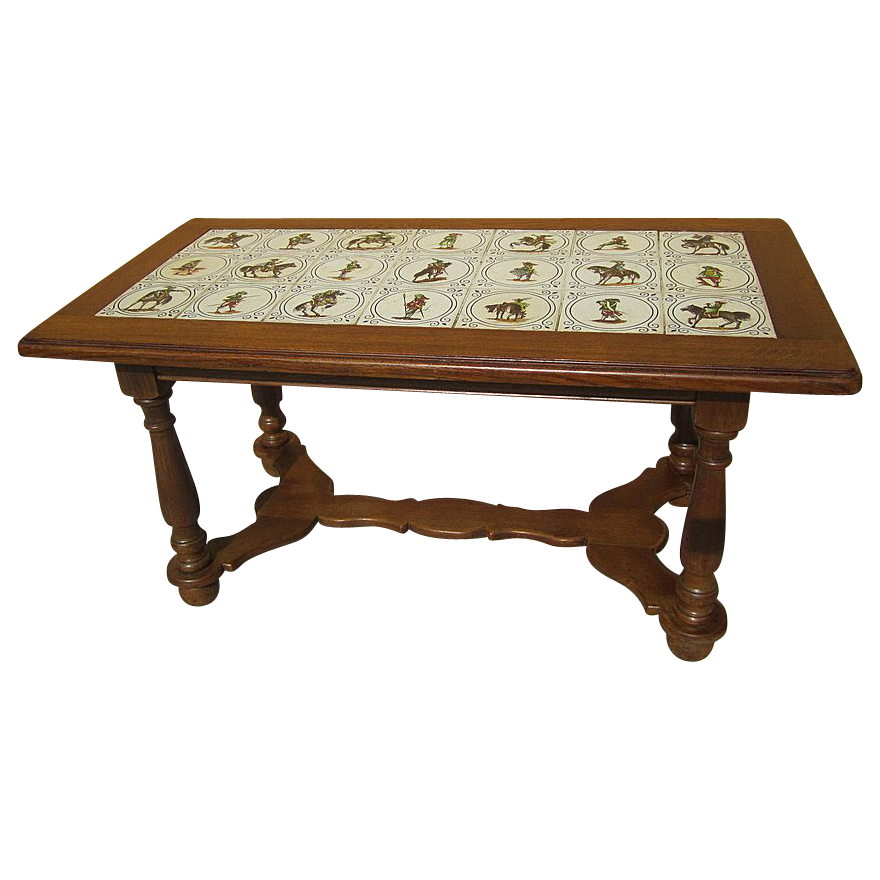 Antique furniture charming french antique tile top oak coffee table sold on ruby lane Coffee table antique