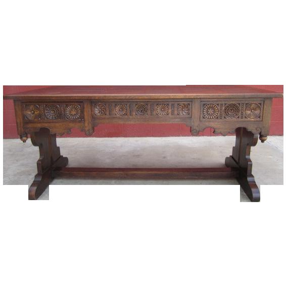 Antique furniture french gothic carved oak desk