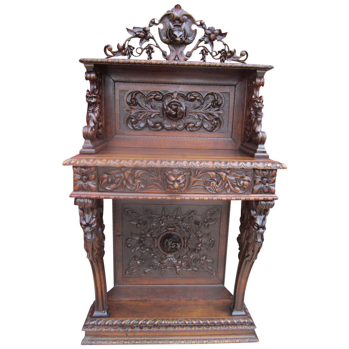 French Antique Gothic Console Server Hall Accent!