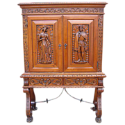 Antique Furniture Spanish Antique Carved Server Bar Cabinet!