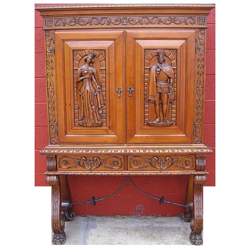 Antique Furniture Spanish Antique Carved Server Bar Cabinet!