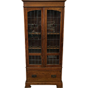American Antique Glass Front Single Drawer Bookcase