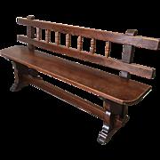 European Antique Bench With Stretcher
