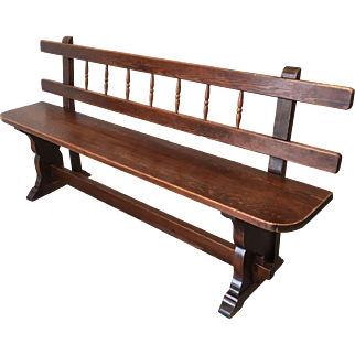 European Antique Bench With Stretcher