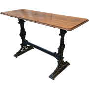 English Antique Cast Iron Pub Table