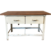 Antique Two Drawer Metal Scrub Top Work Table Kitchen Island