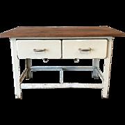 Antique Two Drawer Metal Scrub Top Work Table Kitchen Island