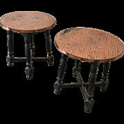 Scandinavian Antique Copper Top Side Tables