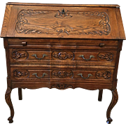 French Antique Carved Drop Front Secretary's Desk
