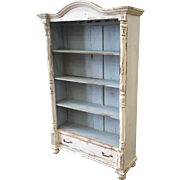 European Antique Painted Bookcase with drawer