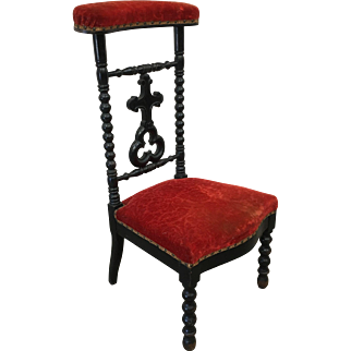 French Antique Red and Black Prayer Chair