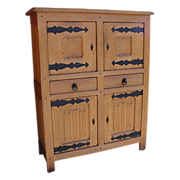 Antique Furniture French Rustic Oak Server Cabinet!