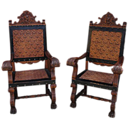 Antique Furniture Spanish Antique Chairs Carved Throne Leather Chairs Armchairs!