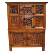 Antique Furniture French Antique Gothic Carved Cabinet!
