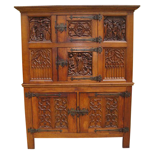 Antique furniture french gothic carved cabinet