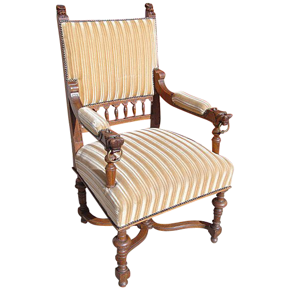 Antique Furniture French Antique Carved Lion's Head Chair Armchair!