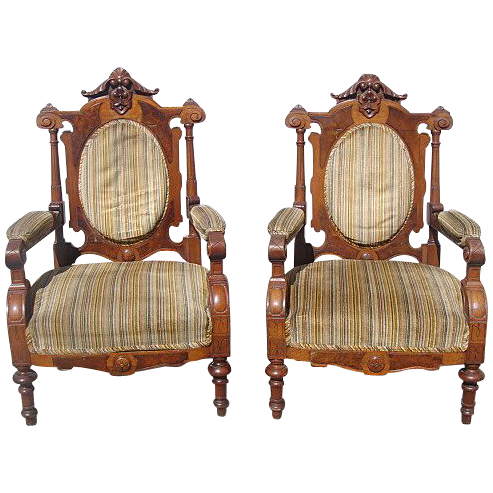 Antique Furniture Pair of Carved Victorian Chairs Armchairs Parlor Chairs!