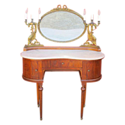Antique Furniture Fabulous French Antique Marble Top Vanity with Bronze Mirror and Candelabras!