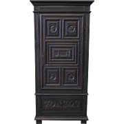 French Antique Tall One Door Cabinet With Castle Motif