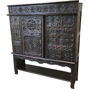 French Antique Carved Briton Cabinet French Bookcase