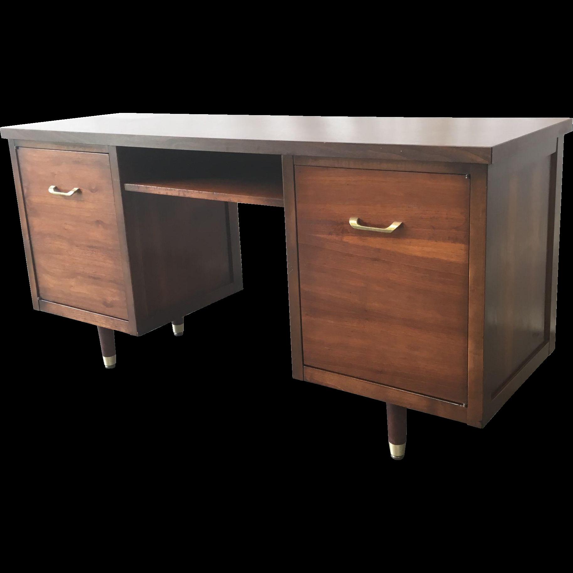 Mid-Century Modern Walnut Desk Console Cabinet Vintage Furniture