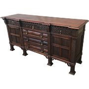 Antique French Carved Oak Sideboard Server
