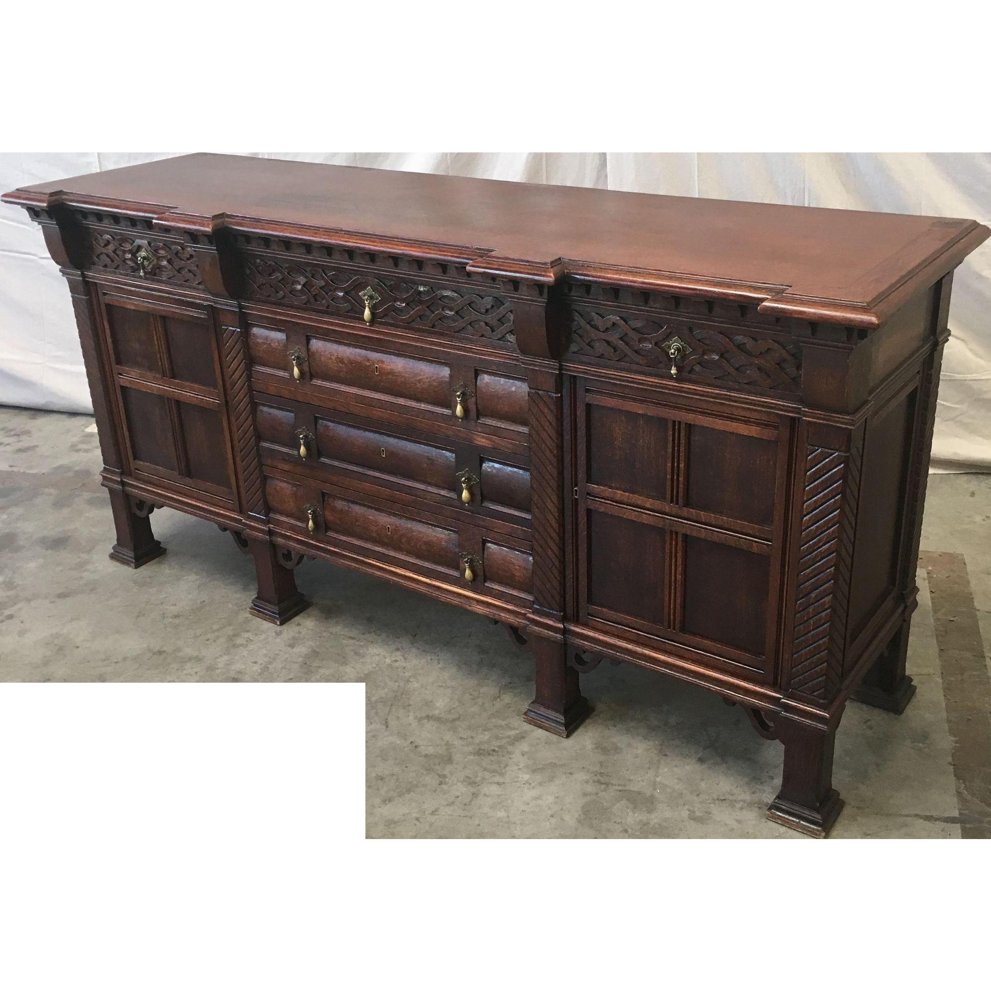 Antique French Carved Oak Sideboard Server
