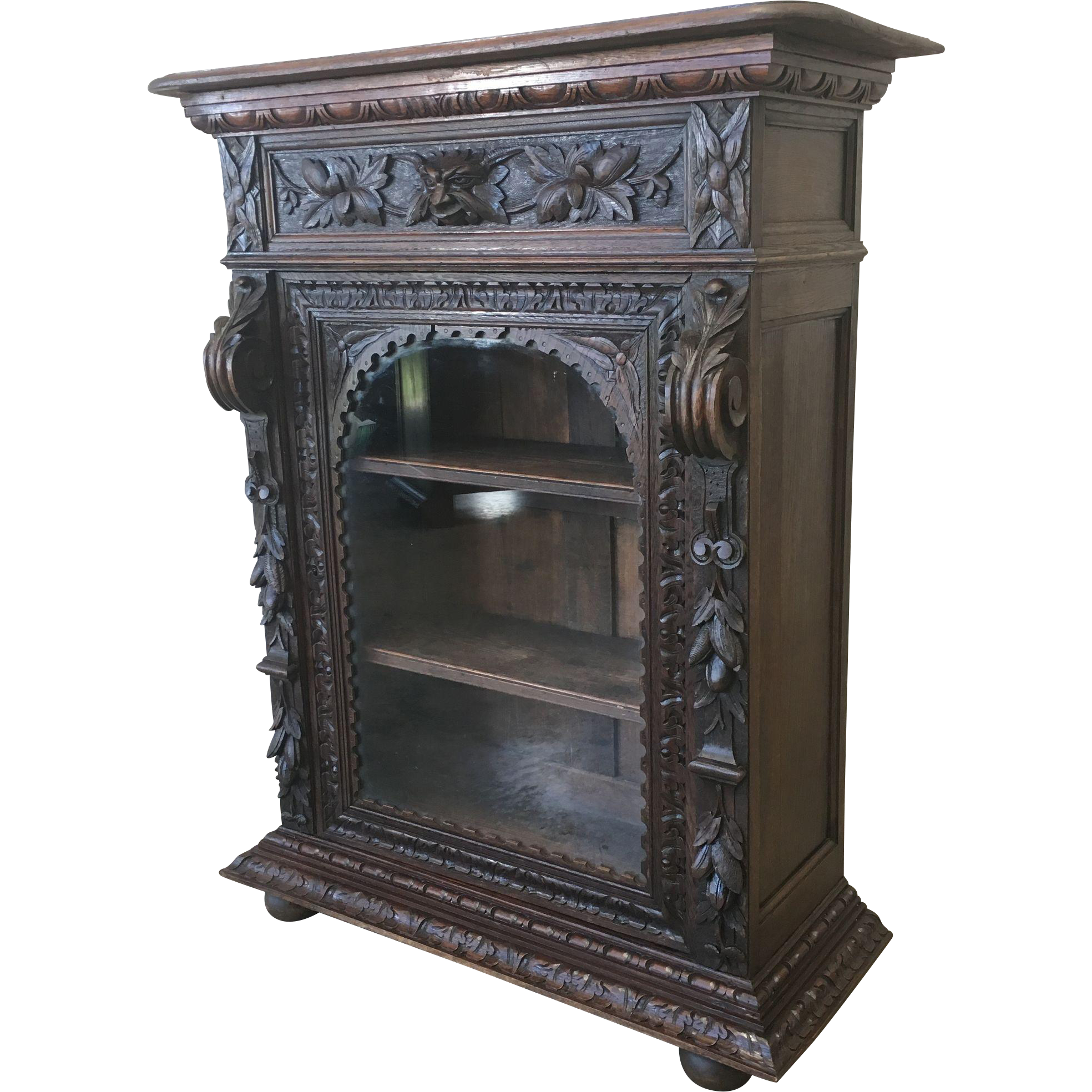 Antique French Carved Glass Front Bookcase