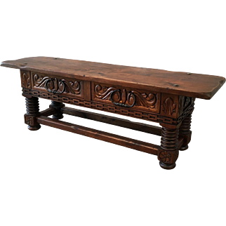 French Antique Two Drawer Coffee Table Bench