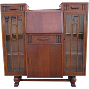 English Art Deco Bookcase Cabinet with Drop Front Desk