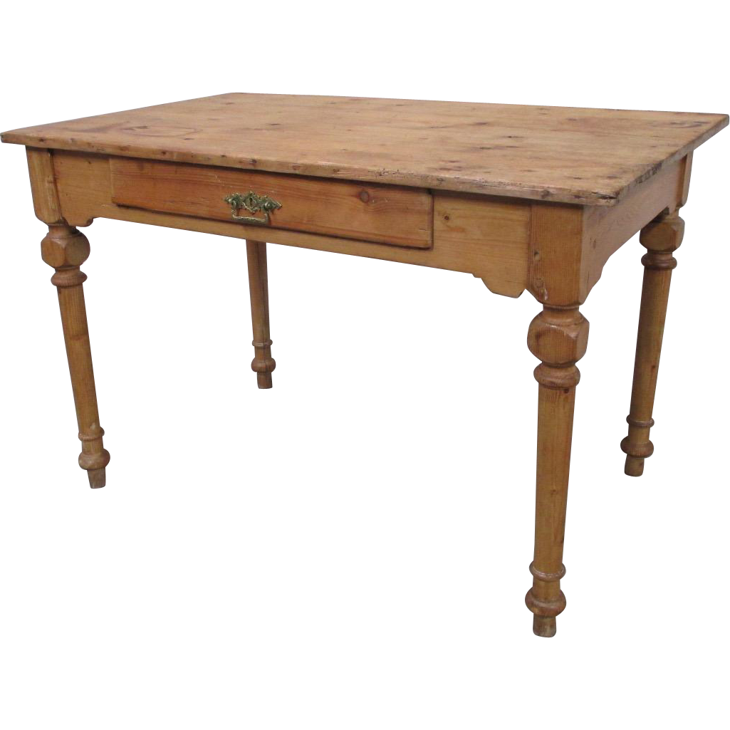 Danish Antique Primitive Pine Table Desk with Drawer