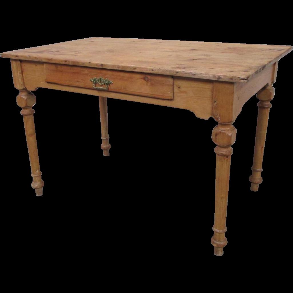 Danish Antique Primitive Pine Table Desk with Drawer