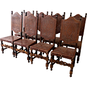 Spanish Antique Leather Dining Chairs Set of Eight