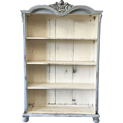 Antique Painted Bookcase With Carved Crest Antique Furniture Shabby Chic