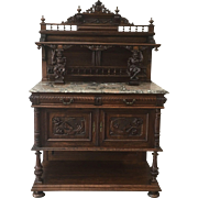 French Antique Server Sideboard Buffet With Marble Top Antique Furniture