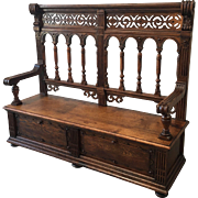 French Antique Carved Hall Bench With Storage Antique Furniture