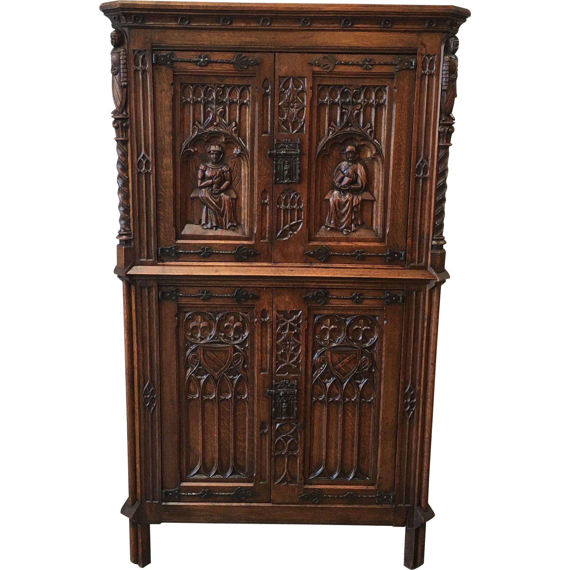 French Antique Carved Gothic Cabinet Antique Furniture