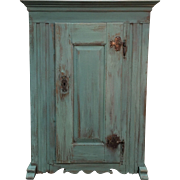 French Antique Painted Rustic Cabinet