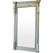 Scandinavian Antique Painted Pine Wall Mirror Shabby Chic