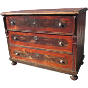 Rustic Painted Pine Three Drawer Antique Dresser Antique Furniture