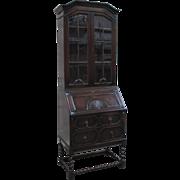 English Antique Barley Twist Secretary Desk