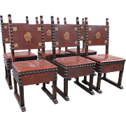 Spanish Antique Leather Dining Chairs with Nailhead Accents