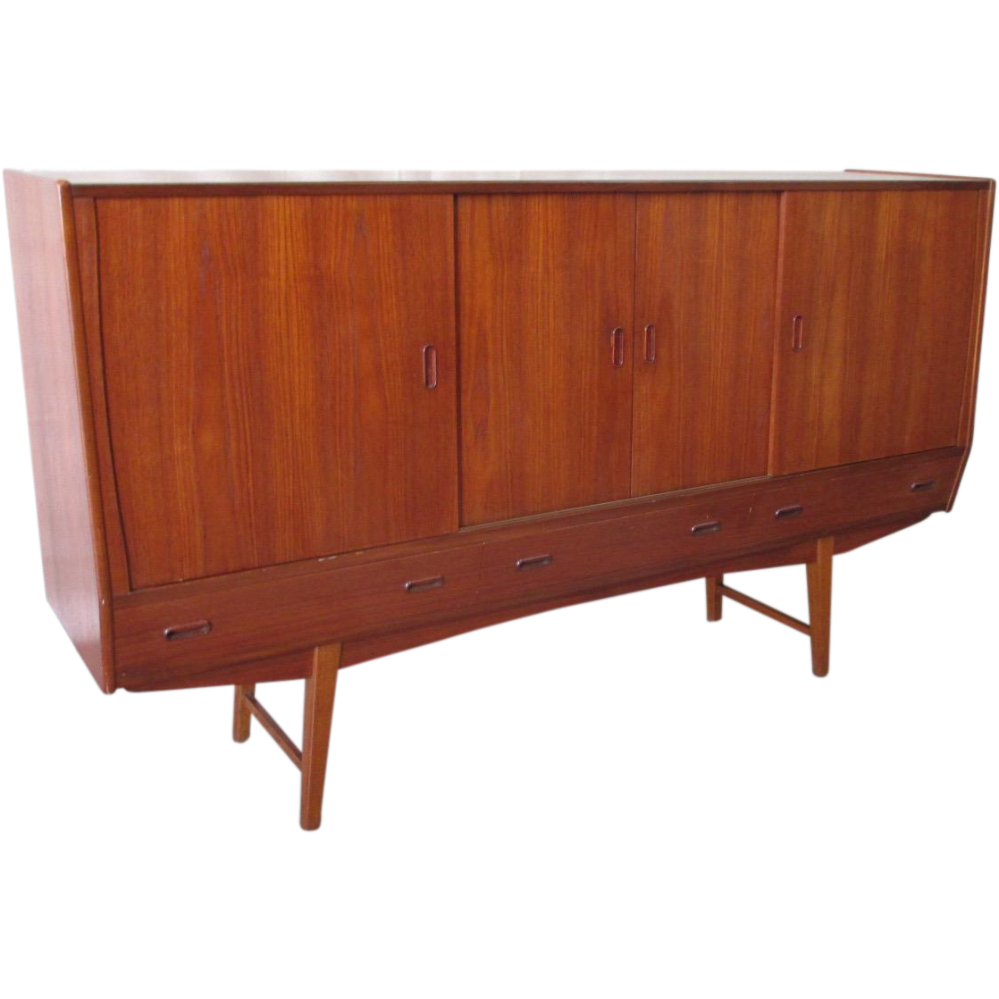 Mid-Century Modern Sideboard with Mirrored Bar
