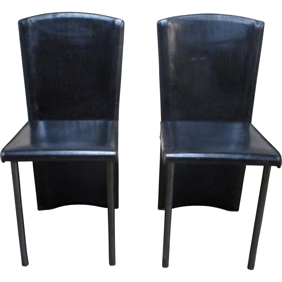 Pair of Italian Mid- Century Modern Leather Chairs by Zanotta