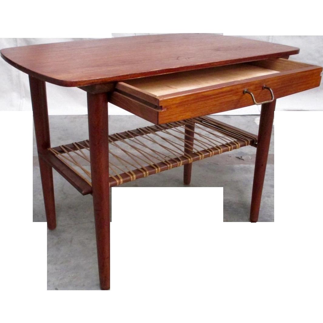 Mid-Century Modern Teak Side Table With Drawer Vintage Furniture