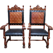 Pair of Spanish Antique Leather Throne Chairs Arm Chairs