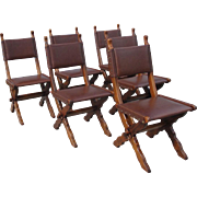 French Antique Rustic Leather Dining Chairs