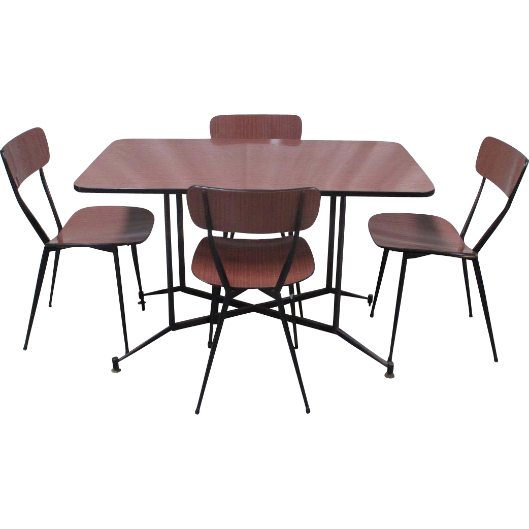 Italian Mid-Century Modern Formica Top Table and Chairs with Iron Frames