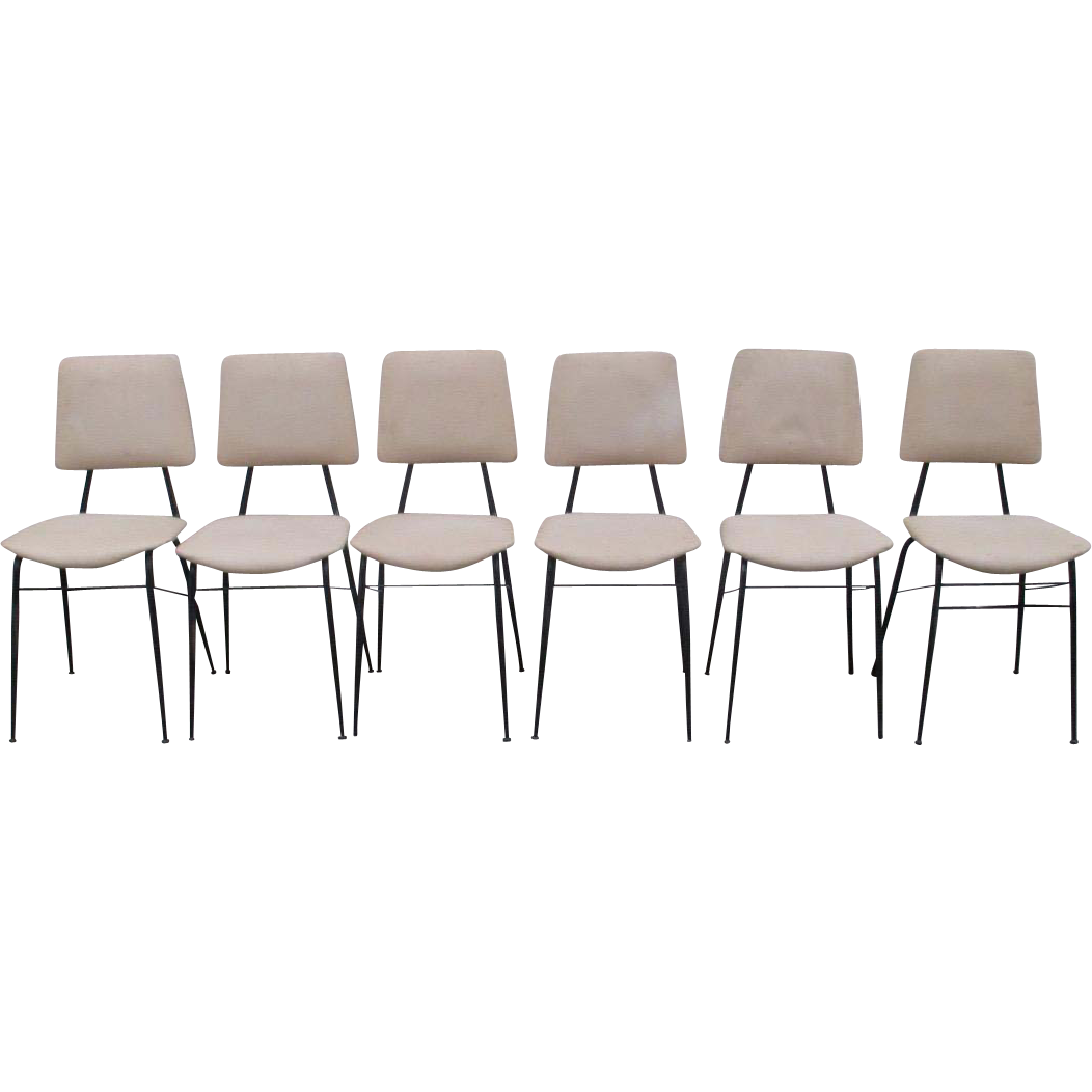 Mid-Century Modern Iron Frame Dining Chairs Set of Six