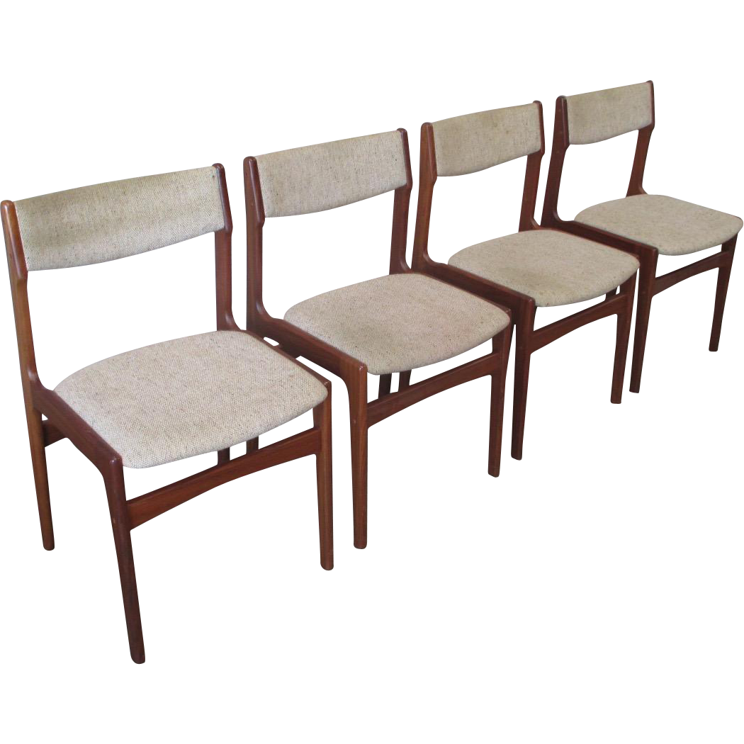 Mid-Century Modern Dining Chairs Set of Four